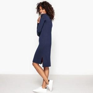 Imagen de Vestido con cuello barco y abertura lateral, de lana La Redoute Collections