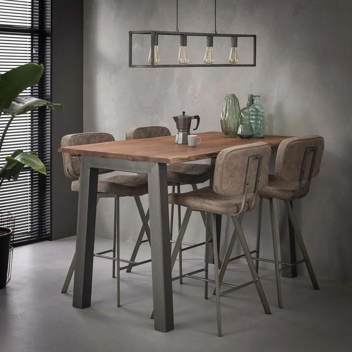 table haute mange debout bois acacia metal style contemporain 147cm melbourne