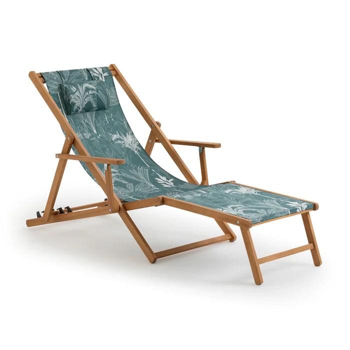 chaise longue amezza acacia et toile