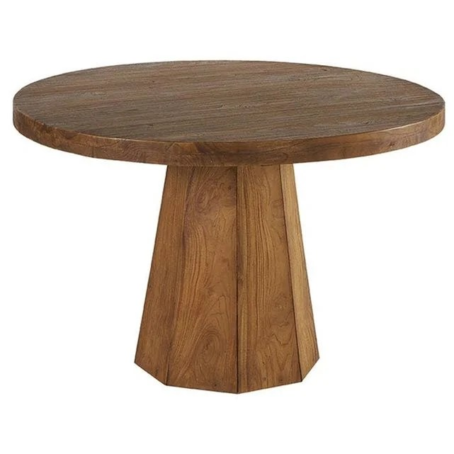 table a manger ronde pied central bois teck massif naturel style exotique 120cm ontario