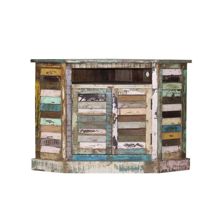 meuble tv d angle ethnik bois recycle colore