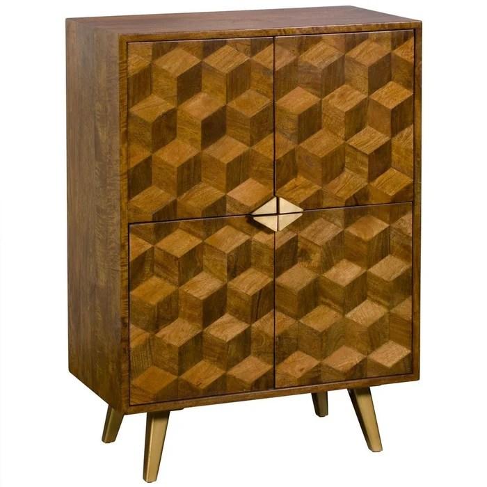 buffet haut en bois de manguier 4 portes motifs maquerterie style contemporain 82 x 115 cm syracuse