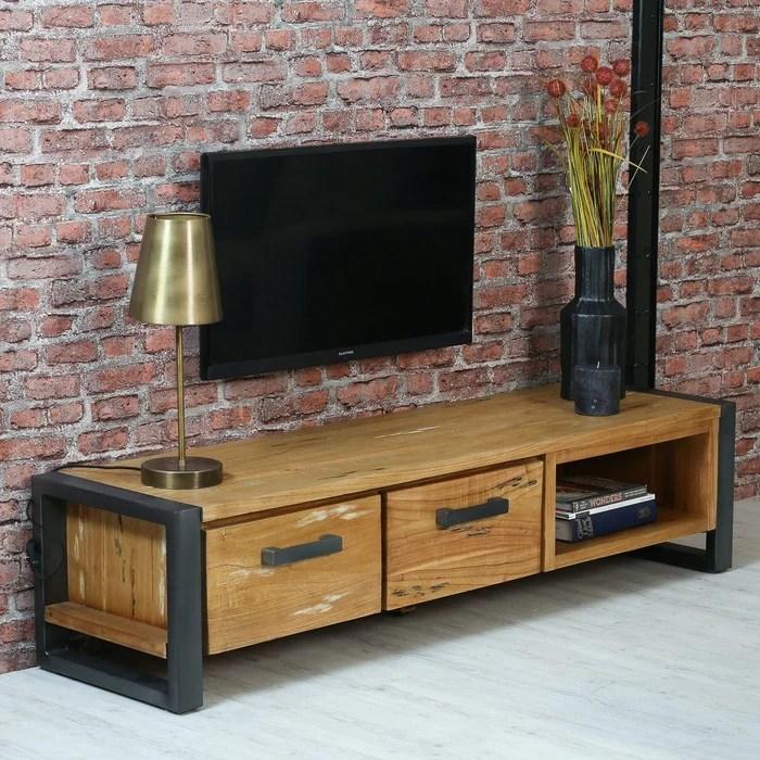 meuble tv 160 cm bois massif mindi et metal 2 portes 1 niche style campagne moderne borneo