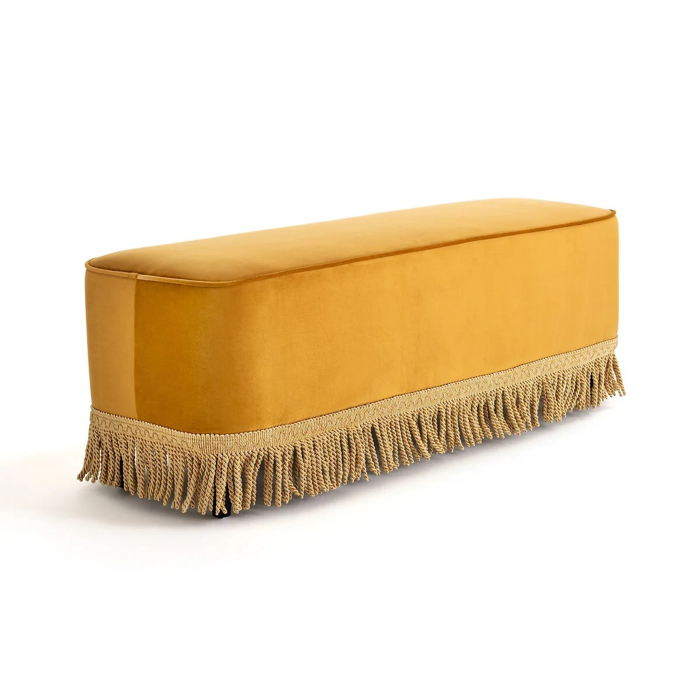 banc bout de lit velours frange ramona
