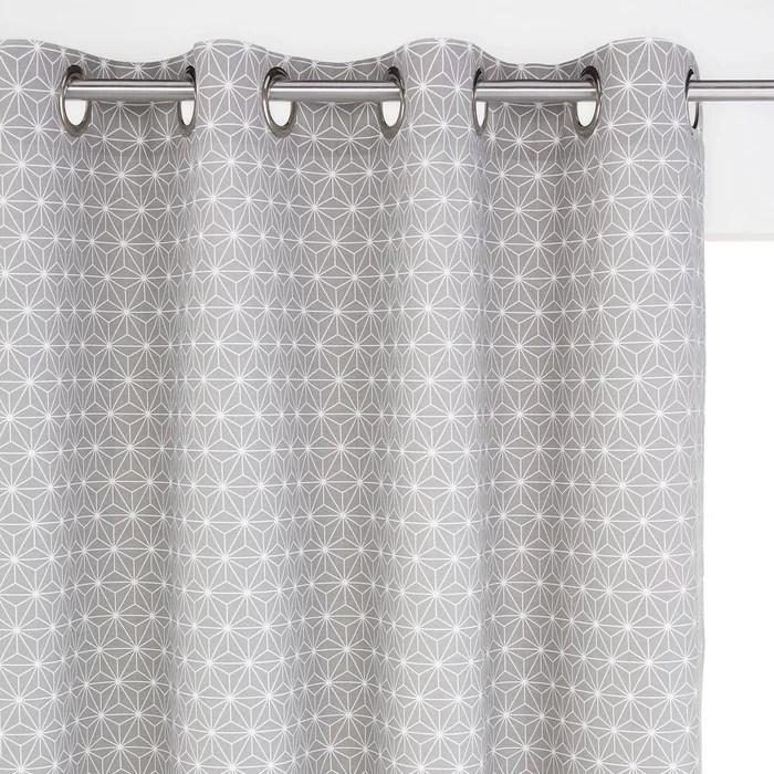 rideau pur coton a œillets lozange