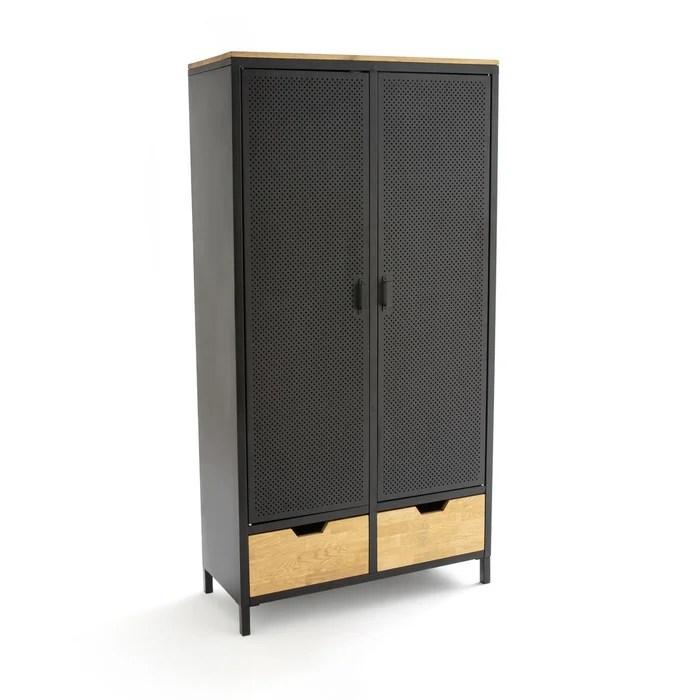 armoire 2 portes metal et chene agama bois metal la redoute interieurs la redoute