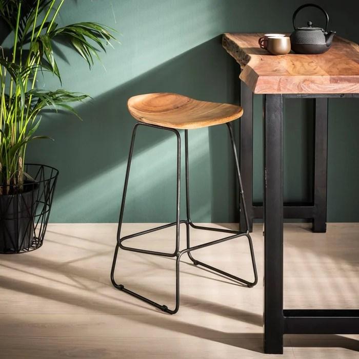tabouret de bar en bois massif assise acacia pied metal style industriel h73cm tribeca