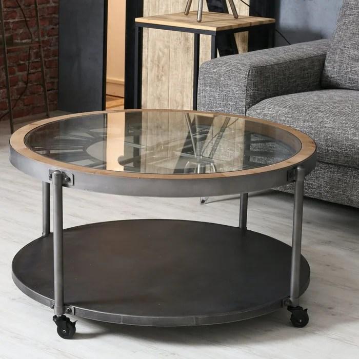 table basse horloge ronde en metal 90cm plateau verre trempe style industriel