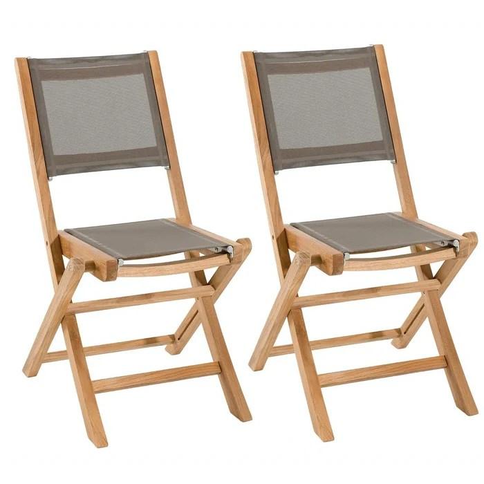 lot de 2 chaises de jardin pliantes en bois de teck et tissu textilene taupe summer