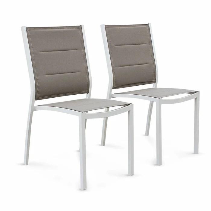 lot de 2 chaises chicago en aluminium blanc et textilene taupe empilables taupe alice s garden la redoute