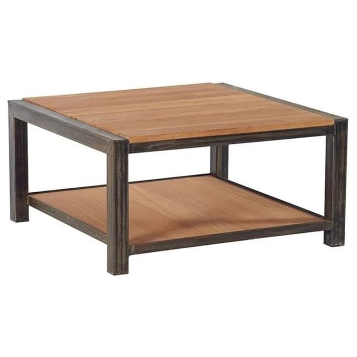 table basse industrielle carree 80cm chene massif naturel et metal noir ferscott