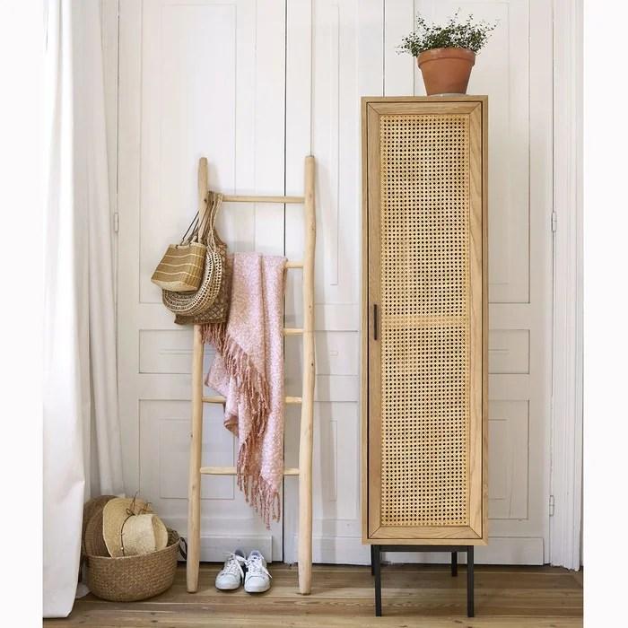 armoire 1 porte cannage penderie waska