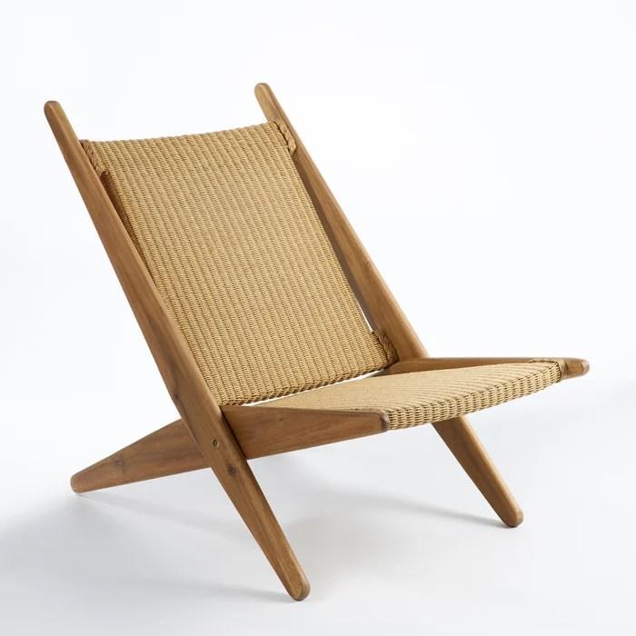 ancelie folding deckchair in woven fibres