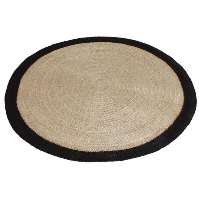 tapis rond jute naturelle avec bords noirs diametre 120cm