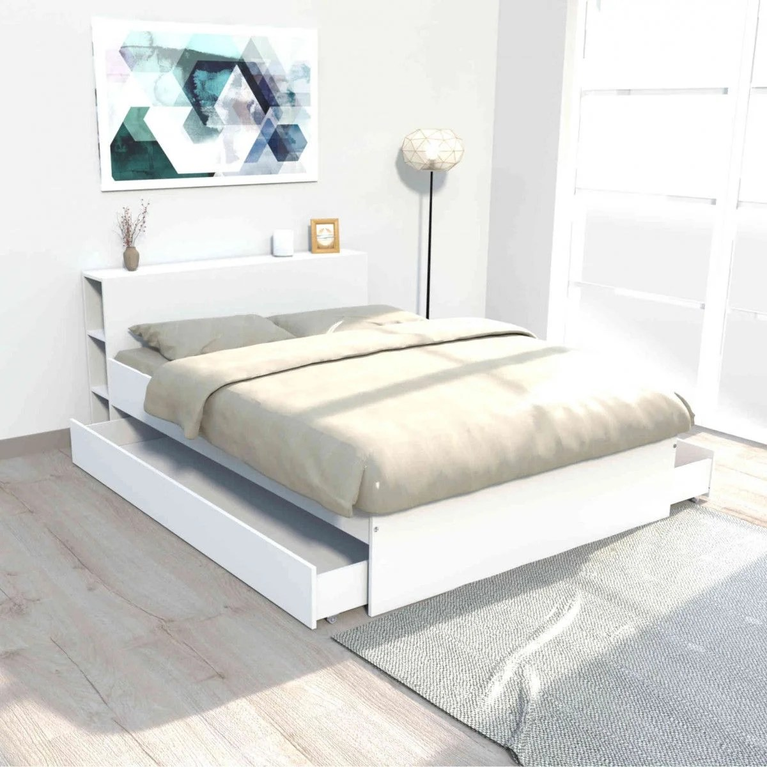 lit 2 tiroirs avec tete de lit etageres