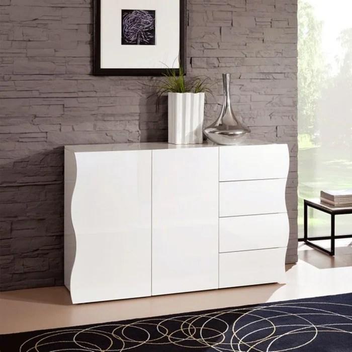 commode a 2 portes et 4 tiroirs blanche laquee 130 x 81 cm sandra zendart selection