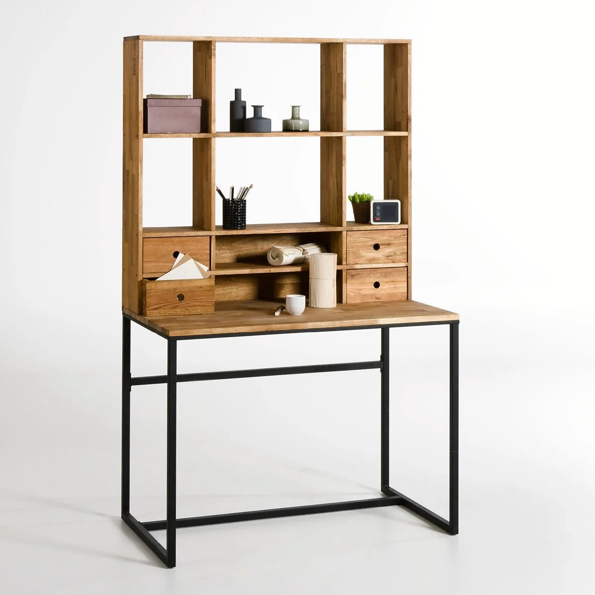 hiba oak and metal desk with extension