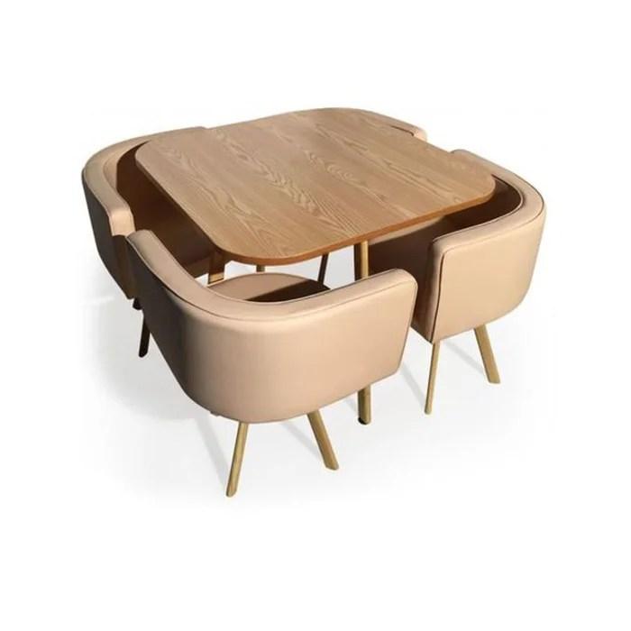 ensemble de table et 4 chaises matelassees scandinave beige passion