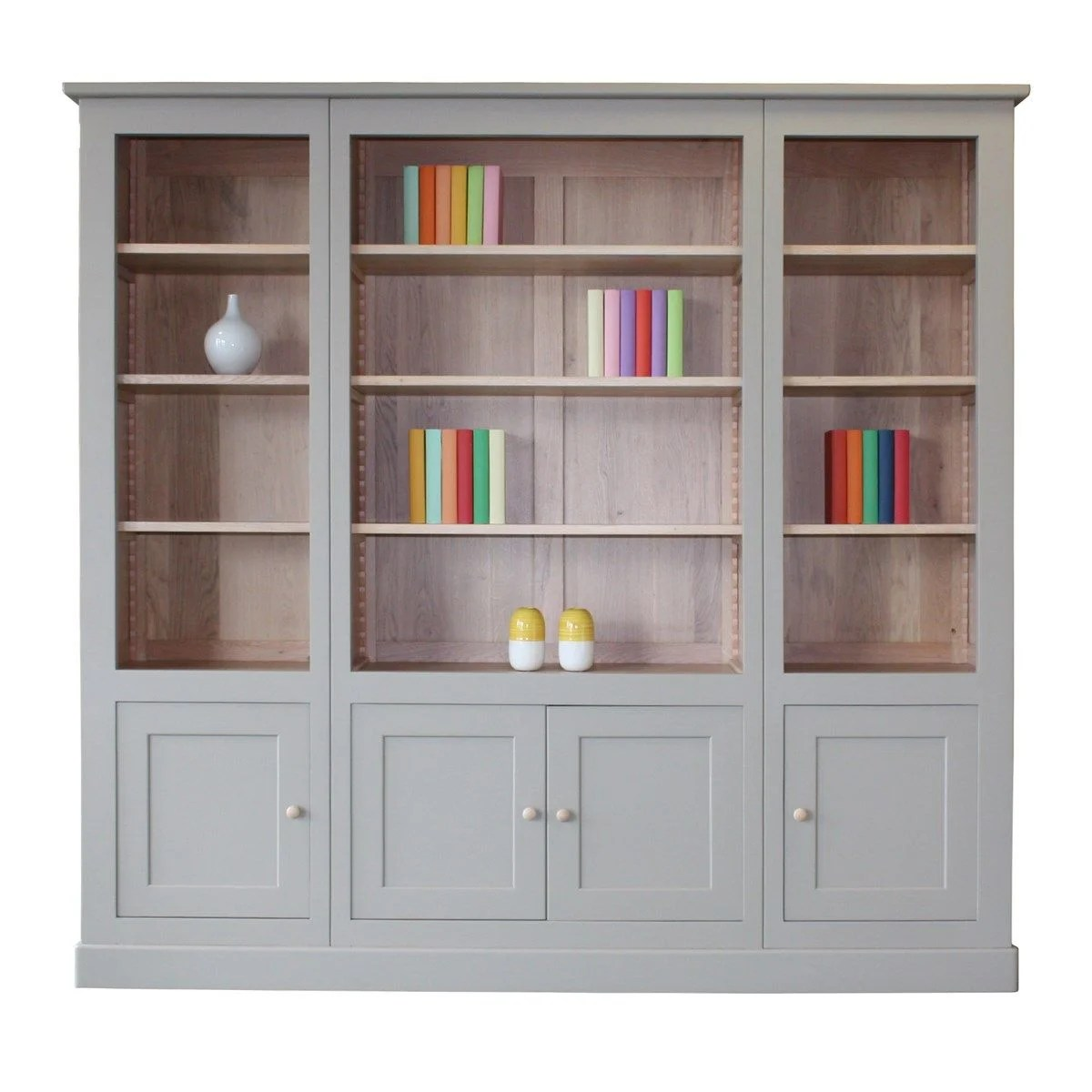 bibliotheque chene massif et laque 4 portes made in france