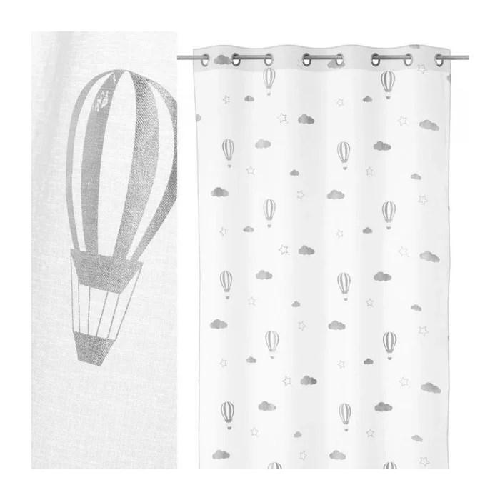 voilage a œillets blanc motifs montgolfieres chambre enfant longueur 260cm