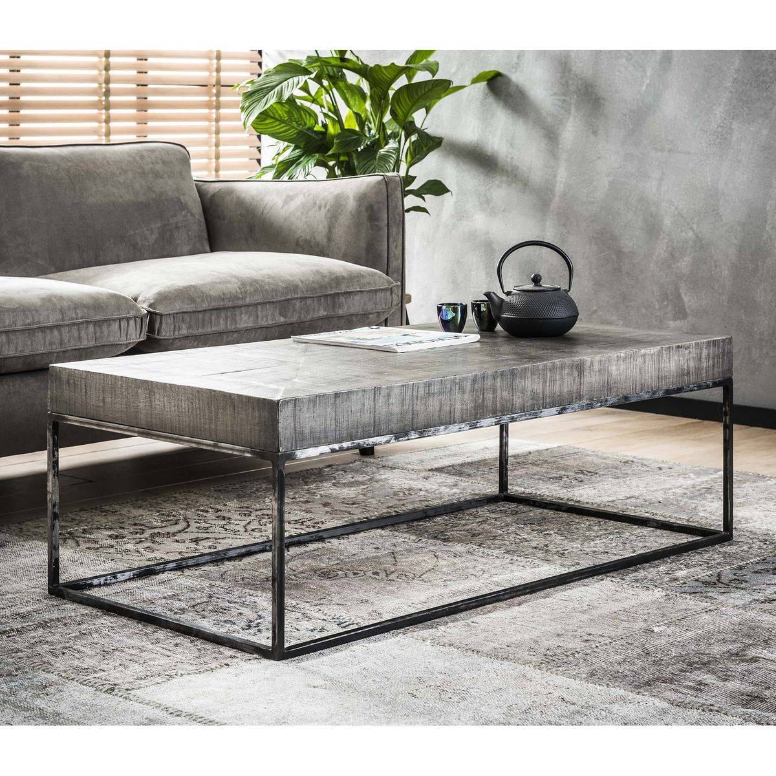 table basse contemporaine bois massif gris et metal style industriel 120x60cm lucknow