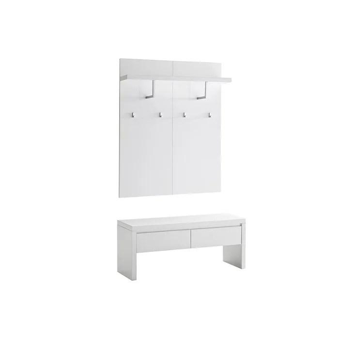 meuble d entree blanc laque avec banc 2 tiroirs et etagere porte manteau welcome
