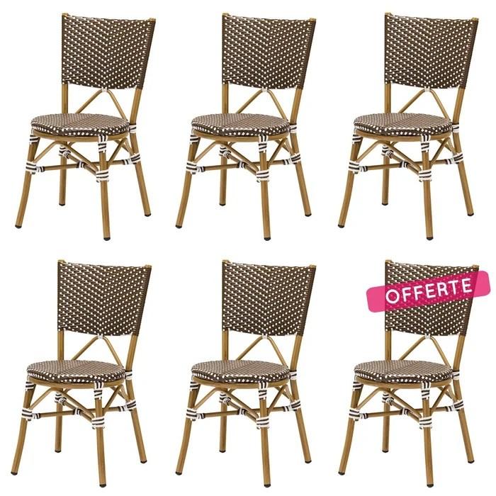 lot 6 chaises bistrot rene alu et polyrotin marron rotin design garden marron blanc beige rotin design la redoute
