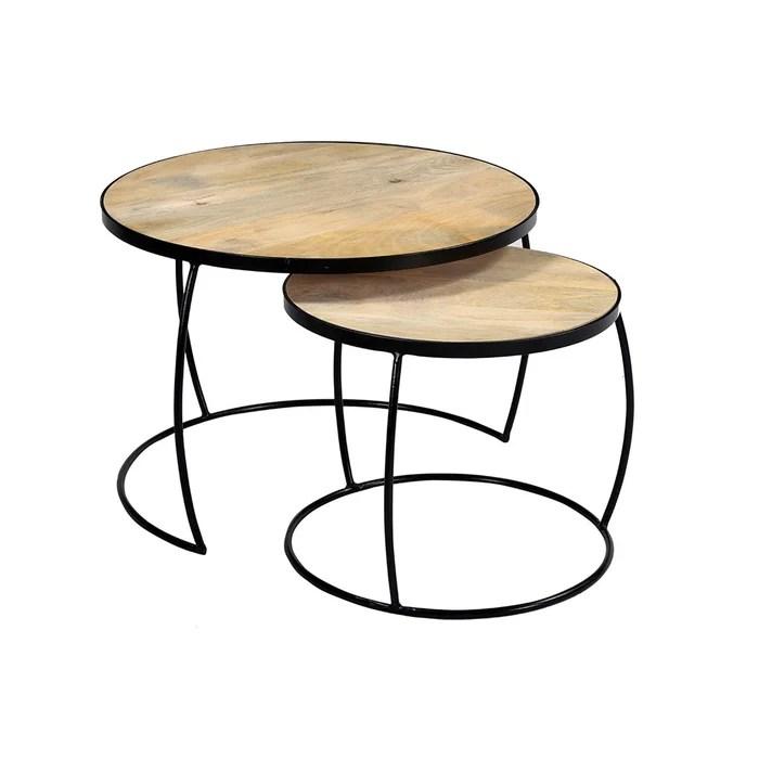 tables basses gigognes manguier massif et metal barrel