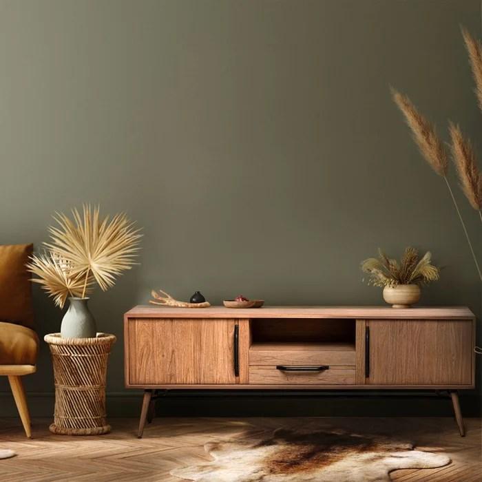 meuble tv scandinave en bois massif de teck et poignees metal duca