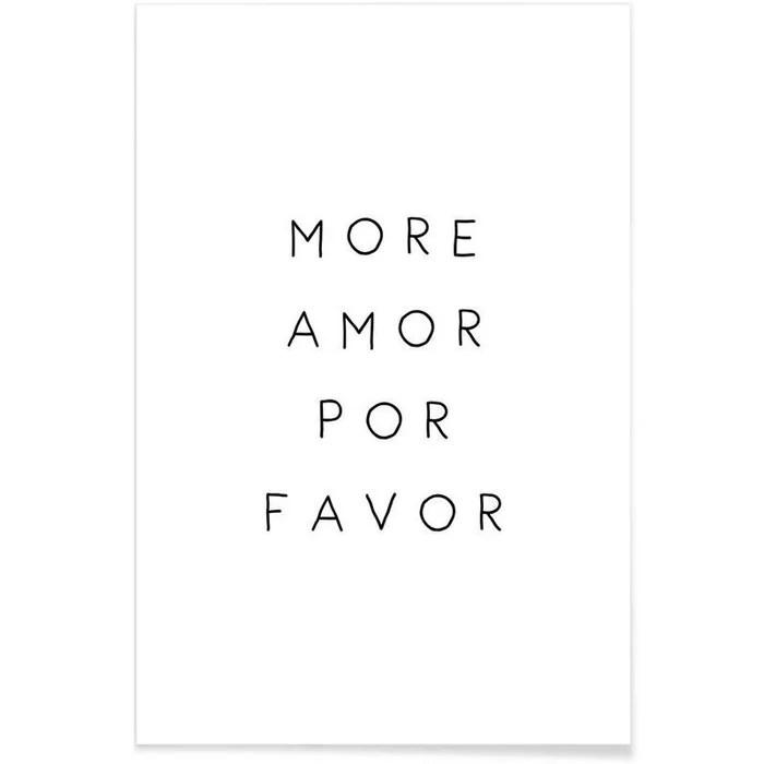 poster more amor citations d amour en blanc noir