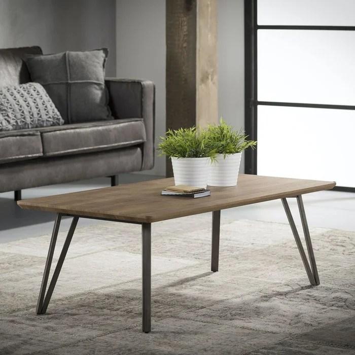 table basse contemporaine plateau bois naturel et pieds metal 120x60cm helsinki