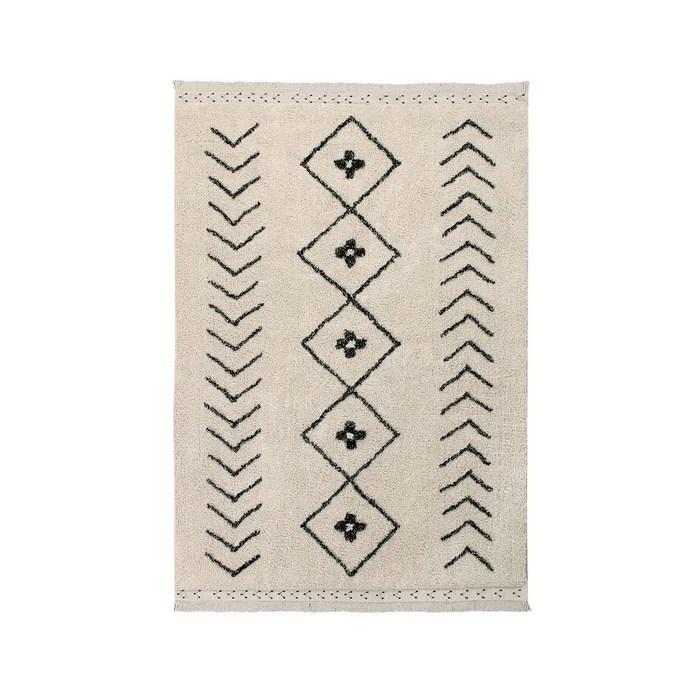 tapis lavable en coton berbere rhombs naturel avec franges par lorena canals