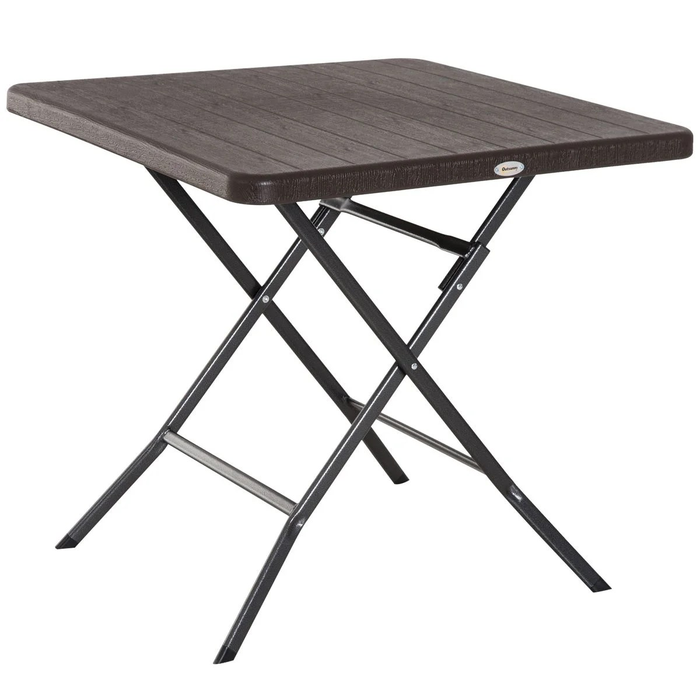 table de jardin pliable metal epoxy hdpe imitation bois chocolat