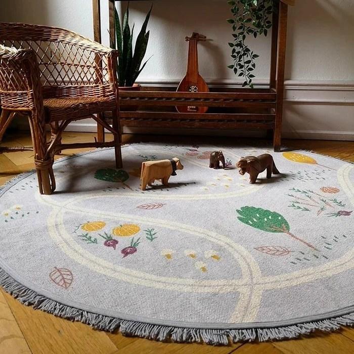 tapis enfant design potager little garden rond coton cree par nattiot