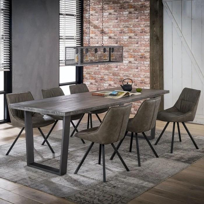 table a manger contemporaine bois manguier massif grise pied metal 230cm lucknow