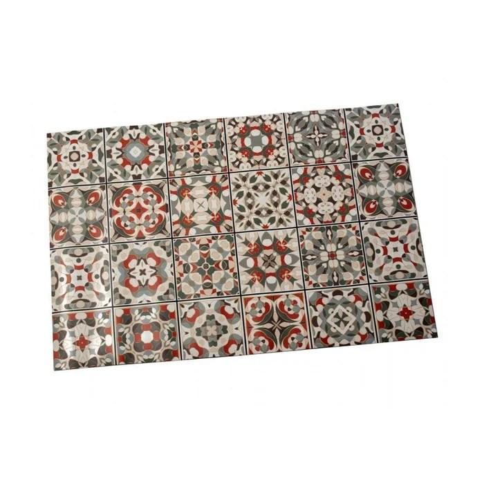 tapis de cuisine multicolore motif carreaux de ciment vinyle 60x90cm