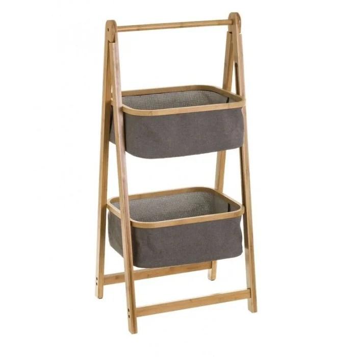etagere de rangement pour salle de bain bambou et paniers gris