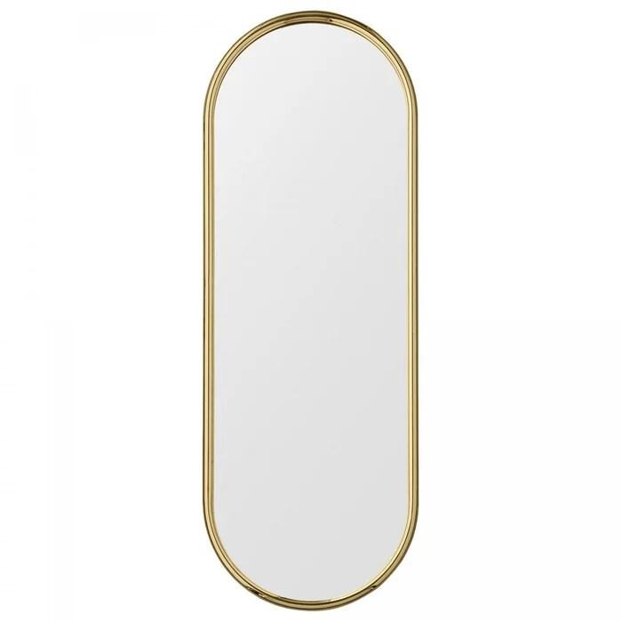 miroir mural angui laiton dore ovale large h 108 x l 39 cm aytm