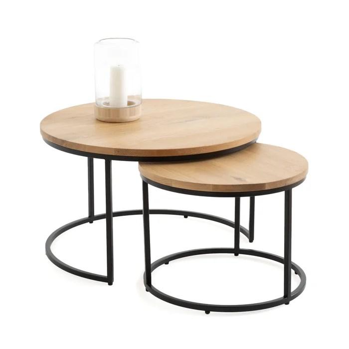 set of 2 vova oak nesting coffee tables
