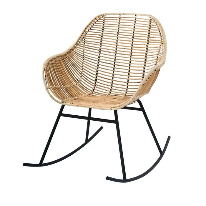 rocking chair pakur en rotin naturel