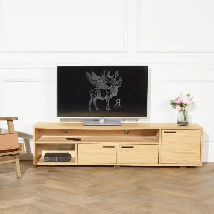 meuble tv hifi en chene 170 cm 2 niches 3 placards angela
