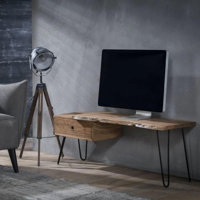 meuble tv 120cm bois acacia pieds epingles metal 1 tiroir destructure style contemporain melbourne