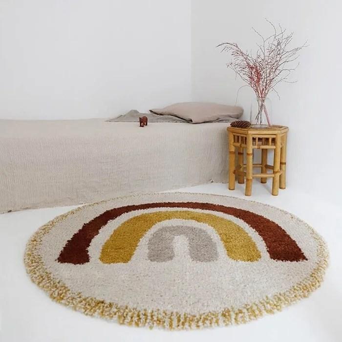 tapis enfant design arc en ciel bohemian rainbow cree par nattiot