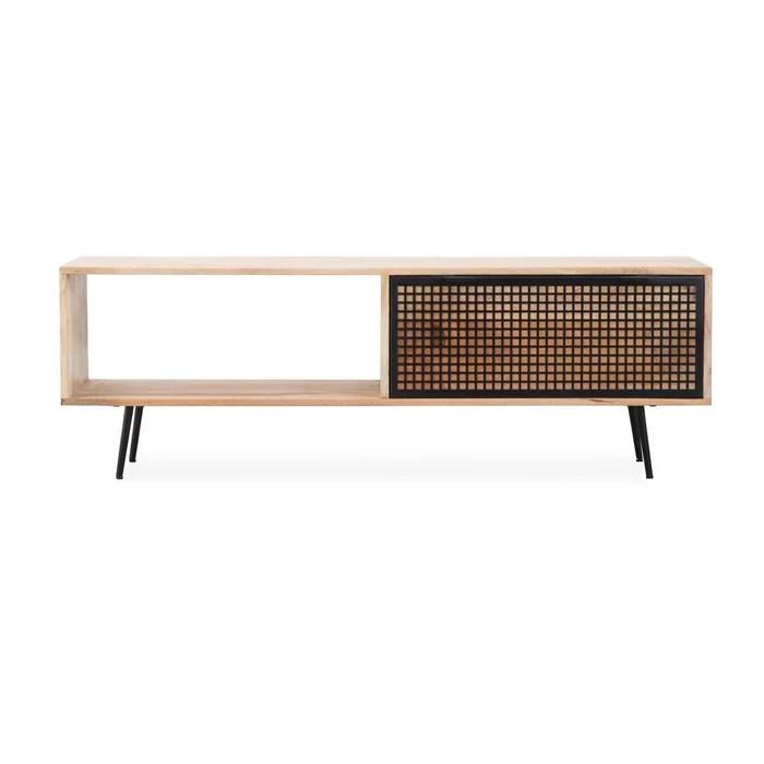meuble tv bois metal grillage 1 niche 1 tiroir