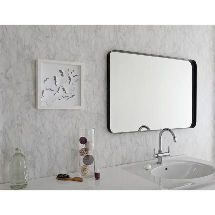 miroir decoratif encadrement metallique noir 60 cm x 120 cm hxl