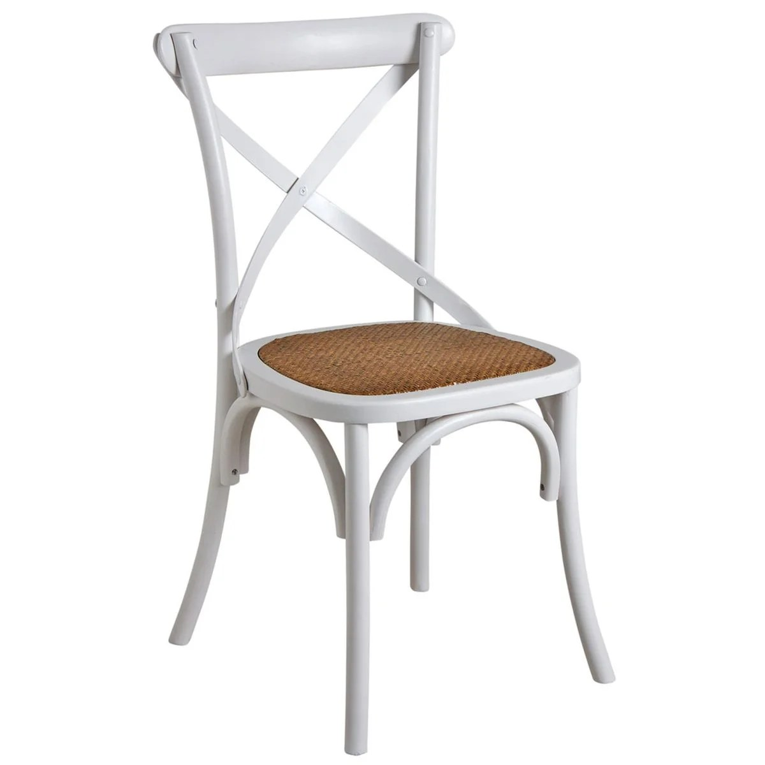 chaise de bistrot en bouleau et rotin