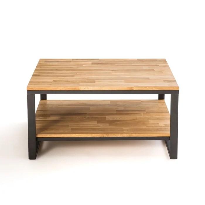 table basse carree chene et acier hiba