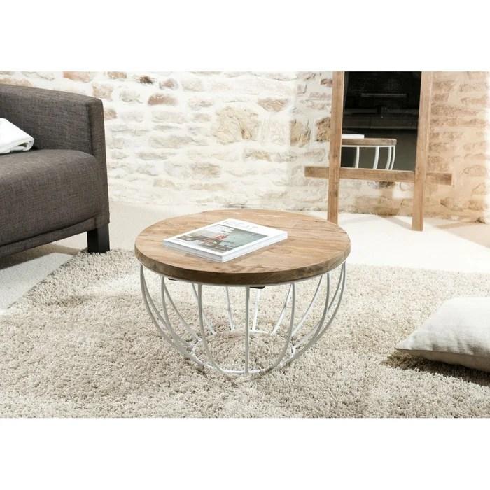 table basse ronde 60cm plateau teck recycle metal blanc style contemporain industriel swing