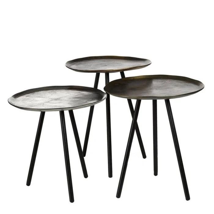 set de 3 tables basses rondes gigogne metal vintage skippy
