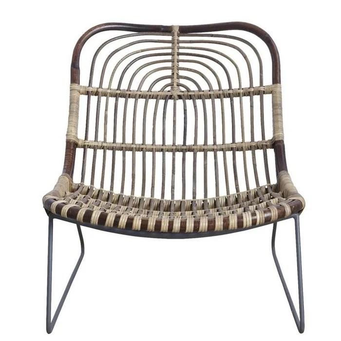 fauteuil bas design rotin tresse metal kawa